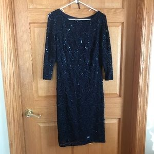 Marina Gorgeous sequined blue lace dress size 12
